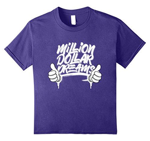 Kids Million Dollar Dreams T-Shirt Funny Motivation Great Gift 12 Purple