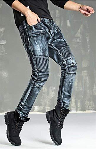 Motociclista Adelina Abbigliamento Oro Roso Moto Rivestiti Jeans Argento W34 A W28 Da L019 In Silber Skinny Uomo Pantaloni rrBCg