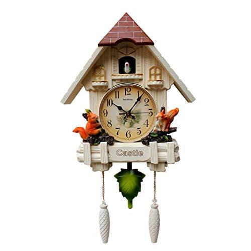 (PEI XIA Cuckoo Wall Clock Pendulum Clock Quartz Clock,Squirrel, Leafs)