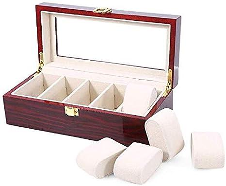 LNDDP Caja Almacenamiento Reloj Caja Reloj Madera Caja Regalo Caja Reloj Madera 5 Ranuras Cajas Almacenamiento exhibición Joyas con Caja Almacenamiento Superior Vidrio: Amazon.es: Deportes y aire libre