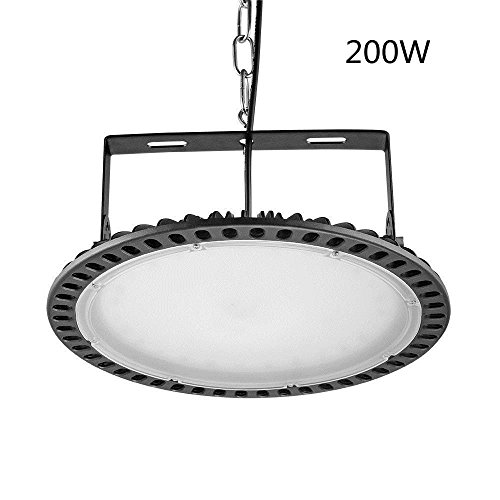 Viugreum 200W UFO LED High Bay Lighting,Ultra Slim,20000LM Daylight White(6000-6500K),Commercial Industrial Chandelier,for Factory,Workshop,Gymnasium,Basement Parking,Warehouse,Commercial Premises (Lighting Wall Ufo)