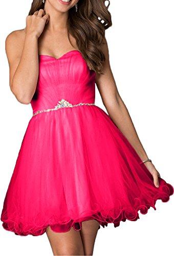 Festliche Cocktailkleider Abendkleider Rosa Herzausschnitt Damen Pink Kleider Traegerlos Charmant Ballkleider Damen Kurzes qSEAU