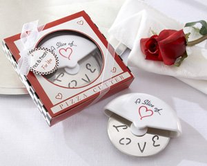 ''A Slice of Love'' Stainless-Steel Pizza Cutter in Miniature Pizza Box - Set of 25 by Kate Aspen