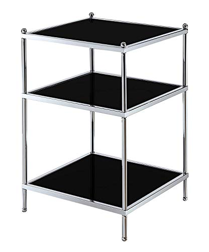 Convenience Concepts 134045B Royal Crest End Table, Black Glass Chrome Frame