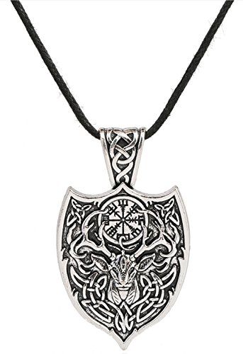 VASSAGO Celtic Deer with Irish Knot Vegvisir Compass Shield Talisman Trinity Triquetra Pendant Necklace