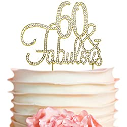 60 & Fabulous Birthday Cake Topper | GOLD 60th Party Decoration Ideas | Premium Sparkly Crystal Diamond Gems | Quality Gold Metal Alloy (60&Fab Gold)