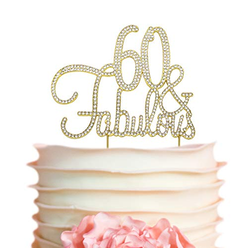 60 & Fabulous GOLD Birthday Cake Topper | 60th Party Decoration Ideas | Premium Sparkly Crystal Diamond Gems | Quality Metal Alloy (60&Fab Gold)