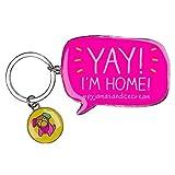 Happy Jackson Yay I'm Home Keyring, 10 cm, Pink