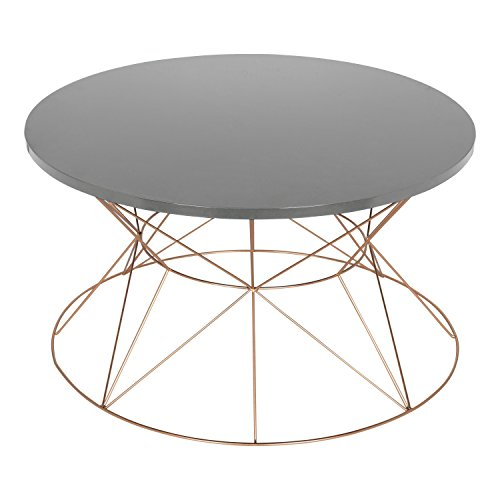 Kate and Laurel Mendel Round Metal Coffee Table, Gray Top with Rose Gold Base ()