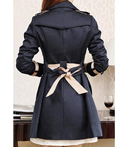 Overcoat Womens RkBaoye Breasted Double Down Fit Black Slim Collar Turn Casual gyyaBTqz