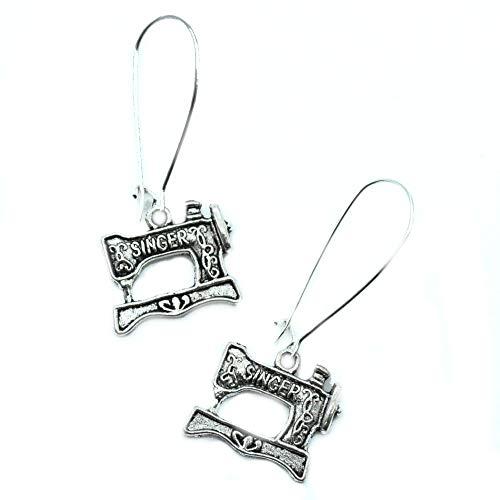 (Singer Sewing Machine Silver Charm Earrings)