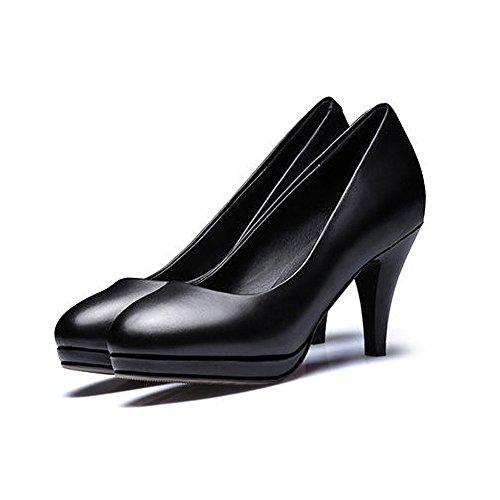 N.Y.L.A. XUERUI Work Dress Flight Attendant Single Shoes Waterproof Platform Fine With Comfortable Yaguan Shoes Round High Heels (Size : EU36/UK4/CN36) by N.Y.L.A. (Image #2)