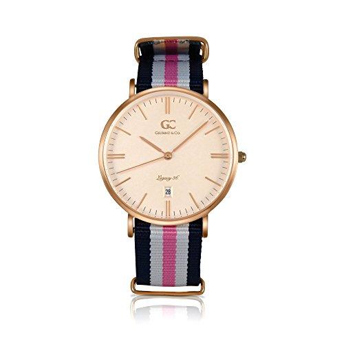 - Gelfand & Co. Women's Minimalist Watch Pink/Navy Blue NATO Strap Vestry 36mm Rose Gold Dial