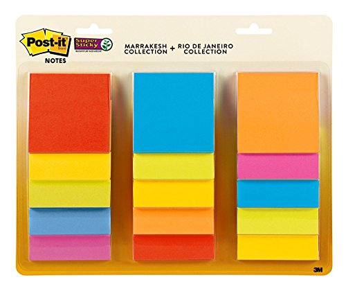 Post-it Super Sticky Notes, 2x Sticking Power, 3 in x 3 in, Assorted Colors, 15 Pads/Pack, 45 Sheets/Pad (654-15SSMULTI) for $<!--$9.10-->