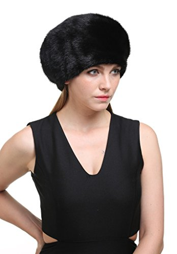 Vogueearth Women'Real Mink Fur Winter Warmer Berets Flexible Hat Black by vogueearth