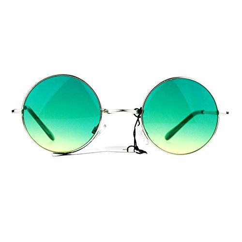 SA106 Summer Color Gradient Lens Circle Lens Round Hippie Sunglasses - Color Green Lenses