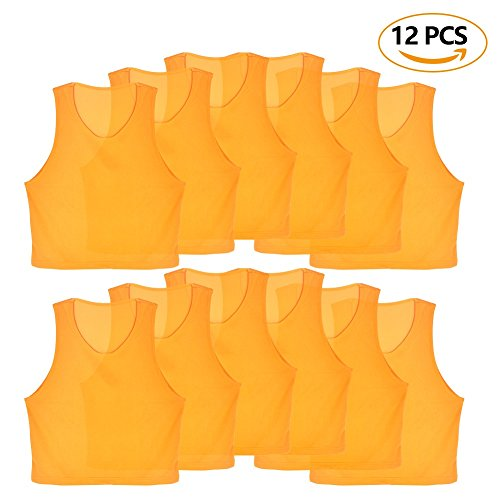 12 Pcs Kids Jerseys Scrimmage Training Vests Football Vest Mesh Breathable Bibs for Volleyball Soccer Basketball