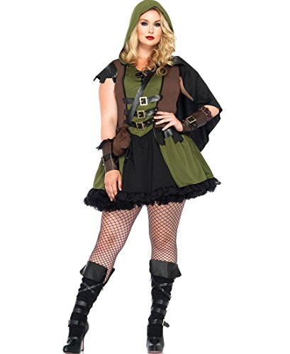 Leg Avenue Women's Plus-Size 3 Piece Darling Robin Hood Costume, Hunter Green, 3X/4X ()