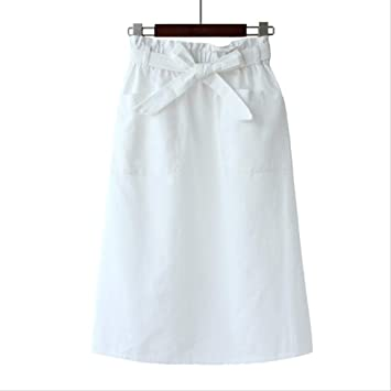 QYYDBSQ Primavera Verano Tweed Faldas Una Línea Estilo Pocket Bow ...