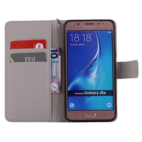 PU para Galaxy J5(2016) J510funda Flip cover de piel para Galaxy J5(2016) J510Flip Cover Funda Libro Con Tarjetero Función Atril magnético + Polvo Conector morado 2 5