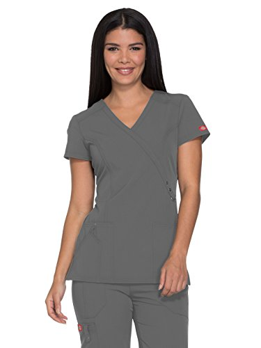 Dickies Xtreme Stretch Women's Mock Wrap Solid Scrub Top Xx-Large Pewter