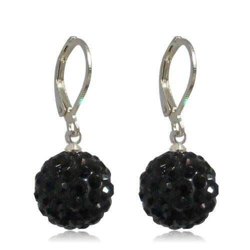 GiftJewelryShop 10MM Sterling Silver Plated Black Disco Crystal Ball Dangle Leverback Earrings