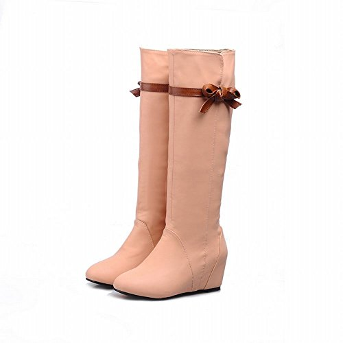Latasa Womens Fashion Bow Inside Mid Wedge Heel Tall Boots Pink AIxvG
