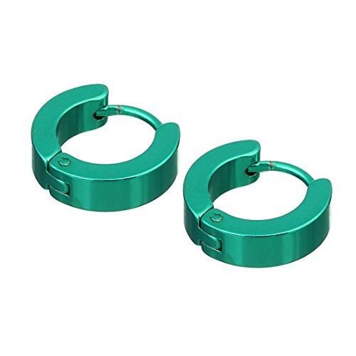 Earrings Huggie Green (Linsoir Beads Stainless Steel 14mm Minimalist Small Hoop Earrings Huggie Earrings for Women Men Valentine's Day Jewelry 2 Pairs/lot)