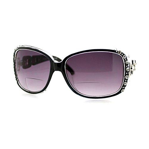 (Womens Bifocal Lens Sunglasses Oversized Square Rhinestone Frame Black +1.50)