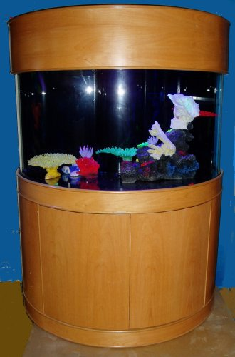 Aquavim Ocean View Reef Ready 98 Gallon Seamless Curved Half Cylinder Glass Aquarium with Real Wood Furniture
