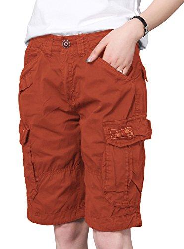 Orange Bermuda - chouyatou Women's Casual Loose Print Multi-Pockets Twill Bermuda Cargo Shorts (X-Large, Orange)
