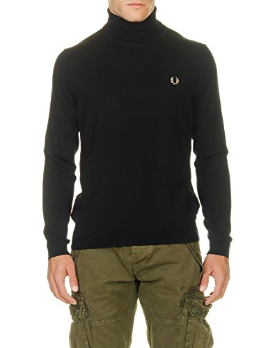 Fred Perry Men's Black Merino Roll Neck Jumper