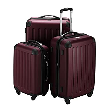 HAUPTSTADTKOFFER - Spree - Set of 3 Hard-side Luggages Glossy Suitcase Hardside Spinner Trolley Expandable (20¡°, 24¡° & 28¡°) TSA Burgundy