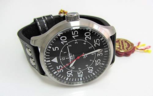 IMC flygklocka C-160 Transall silver män armbandsur klocka läderarmband hus av rostfritt stål