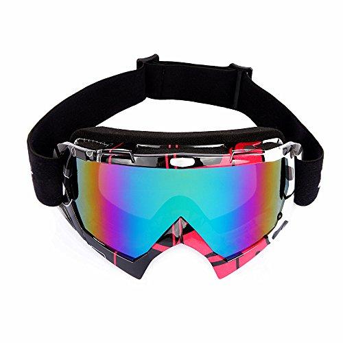 Wolfbike UV400 Protection Snow Goggles Glasses Snowmobile Ski Skate Sports (Black/Red)