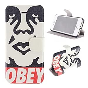 Obey Picture Pattern PU Full Body Firm Case with Card Slot and Stand for iPhone 5/5S