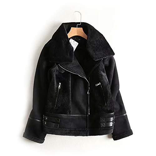 NIMI Suede Leather Jacket, Fur One Large Lapel Pocket Zipper and Belt Decor Double Breasted, Warm Outwear Aviator Jacket Softshell Jackets,M (Schwarz Und Mild Shorts)