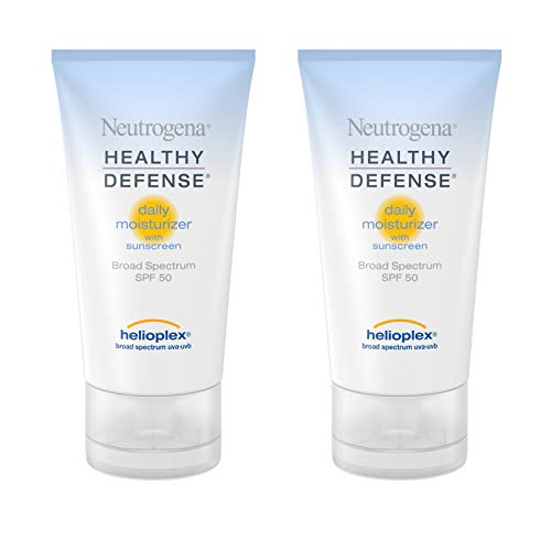 - Neutrogena Healthy Defense Daily Moisturizer with Broad Spectrum SPF 50 Sunscreen, Vitamin E & Anti-Oxidants, Lightweight, Non-Greasy & Hypoallergenic, 1.7 fl. oz (Pack of 2)