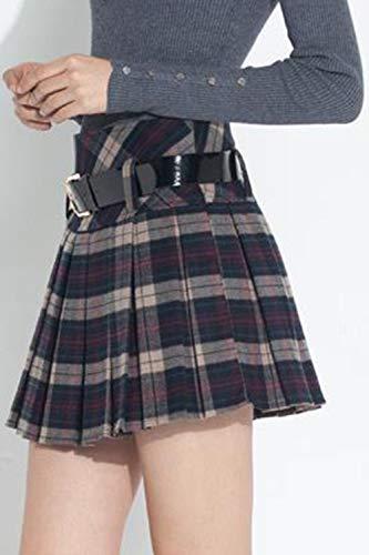 Jupes Gris Plissée Kilt Ceinture Tartan Femmes Taille Mini A ligne Haute Plaid D'hiver gf7yb6