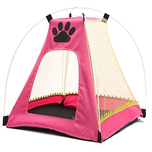 FidgetGear Pet Dog Cat Bed Houses Nest Cage Folding Tent Mosquito Net for 15kg Pet Pink