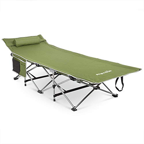 (Alpcour Folding Camping Cot with Comfortable Pillow, Side Pocket and Convenience Carry Bag - Strong Stable Collapsible Folding Camping Cot Great for Camping, Traveling and Home Lounging - Army Green)