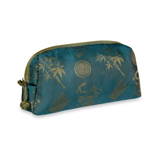 Cosmetic Bag (Large) – Silk Jacquard (Moroccan Blue), Bags Central