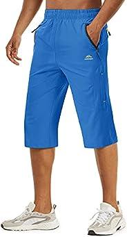 TACVASEN Men's Quick Dry Hiking 3/4 Long Capri Shorts Zipper Poc