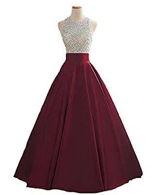 Pearldress Long Sequins Keyhole Back Ball Gown Beaded Prom Evening Dress With Pockets