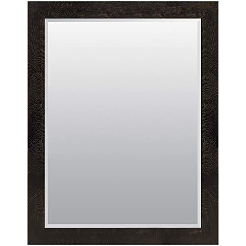 (Everly Hart Collection 36x48 Black and Bronze Woodgrain Framed Beveled Wall or Leaner Mirrors )