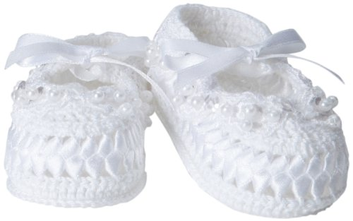 Jefferies Socks Baby-Girls Infant Pearl Ribbon Bootie, White, Newborn (Booties White Girls)