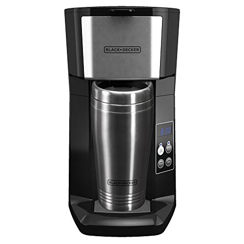 BLACK+DECKER CM625B Programmable Single Serve Coffee Maker with Travel Mug, Black