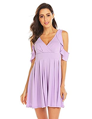OD'lover Women's Summer Cold Shoulder Ruffle Sleeves High Waist Pleated Dress