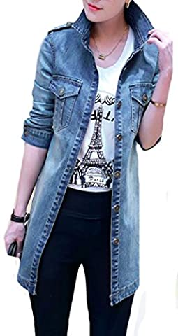MLG Women Fashion Long Sleeve Lapel Denim Jacket Long Coat 1 XXL - Denim Coat Jacket