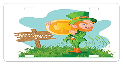 St. Patrick's Day License Plate by Ambesonne, Festive Leprechaun with Costume Holding Large Shamrock Gold Coin on Hill, High Gloss Aluminum Novelty Plate, 5.88 L X 11.88 W Inches, Multicolor - Cheap Leprechaun Costumes